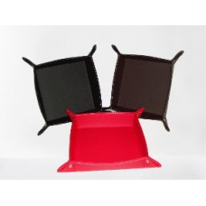 BANDEJA cuerina 24x24x6cm negro rojo/marron (110847)