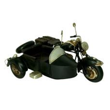 ADORNO METAL MOTO SIDECAR NEGRA 19x14x10cm