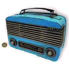 ADORNO METAL RADIO ANTIGUA AZUL 23x9x17cm