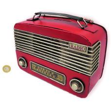 ADORNO METAL RADIO ANTIGUA ROJA 23x9x17cm